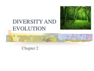 DIVERSITY AND EVOLUTION