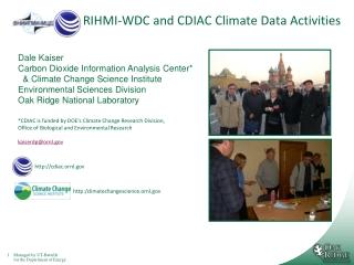 RIHMI-WDC and CDIAC Climate Data Activities
