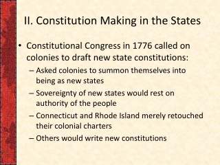 II. Constitution Making in the States
