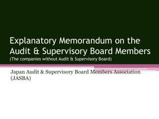 Japan Audit & Supervisory Board Members Association (JASBA)