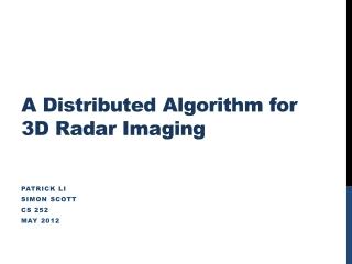 A Distributed Algorithm for 3D Radar Imaging