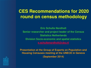 CES Recommendations for 2020 round on census methodology