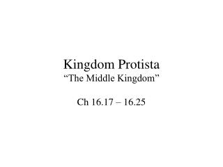 """Kingdom Protista """"The Middle Kingdom"""""""