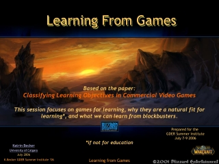 Learning From Games