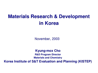 Materials Research & Development in Korea