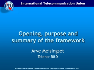 Opening, purpose and summary of the framework