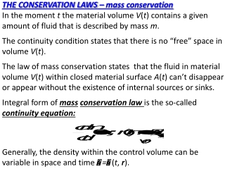 THE CONSERVATION LAWS – mass conservation
