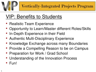 VIP: Benefits to Students Realistic Team Experience