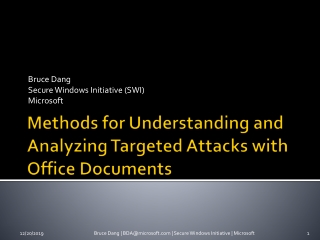 Methods for Understanding and Analyzing Targeted Attacks with Office Documents