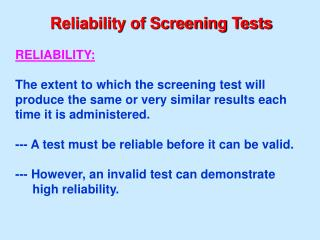 Reliability of Screening Tests