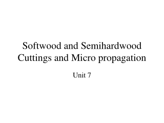 Softwood and Semihardwood Cuttings and Micro propagation