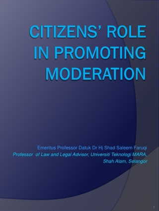 CITIZENS' ROLE IN PROMOTING MODERATION
