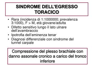 SINDROME DELL'EGRESSO TORACICO
