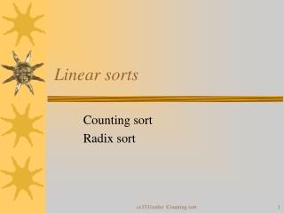 Linear sorts