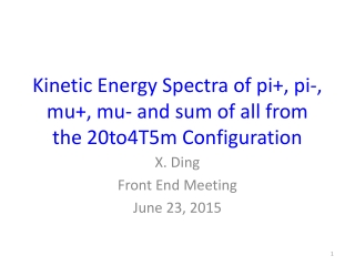 Kinetic Energy Spectra of pi+, pi-, mu+, mu- and sum of all from the 20to4T5m Configuration