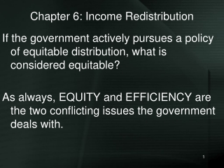 Chapter 6: Income Redistribution