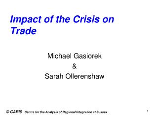 Impact of the Crisis on Trade