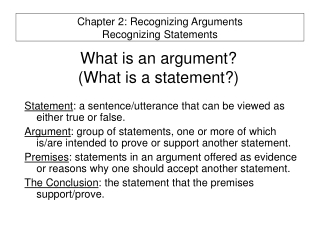 What is an argument?  (What is a statement?)