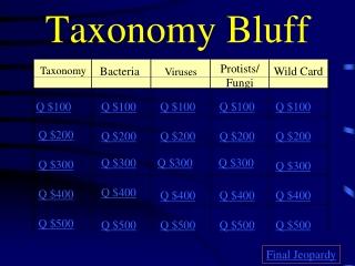 Taxonomy Bluff