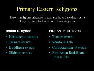 Primary Eastern Religions