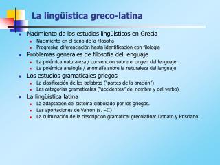 La ling ü istica greco-latina