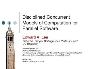 Disciplined Concurrent Models of Computation for Parallel Software