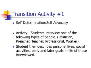 Transition Activity #1