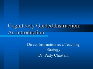 Cognitively Guided Instruction: An introduction