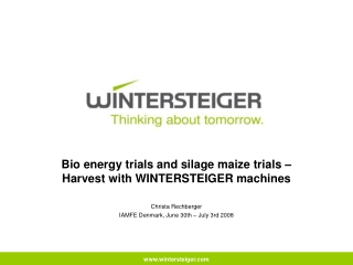 Bio energy trials and silage maize trials –  Harvest with WINTERSTEIGER machines