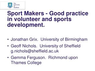 Sport Makers - Good practice in volunteer and sports development.