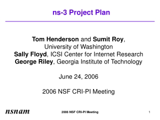 ns-3 Project Plan