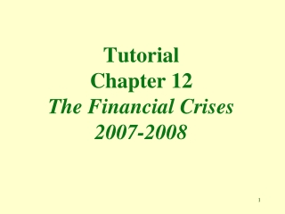 Tutorial Chapter 12 The Financial Crises 2007-2008