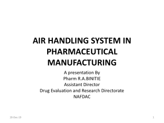 AIR HANDLING SYSTEM IN PHARMACEUTICAL MANUFACTURING