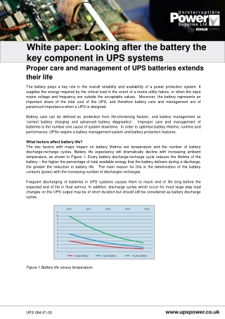 White paper:  Looking after the battery the  key component in UPS systems