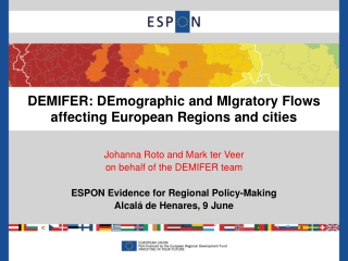 DEMIFER: DEmographic and MIgratory Flows affecting European Regions and cities