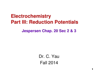 Electrochemistry Part III: Reduction Potentials