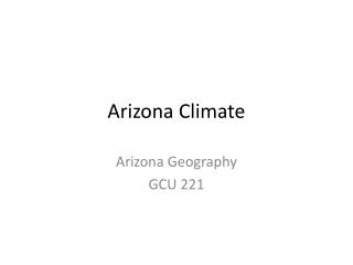 Arizona Climate