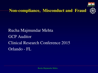 Non-compliance,  Misconduct and  Fraud