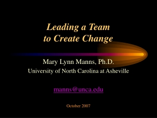Leading a Team to Create Change