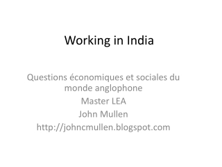 Working in India