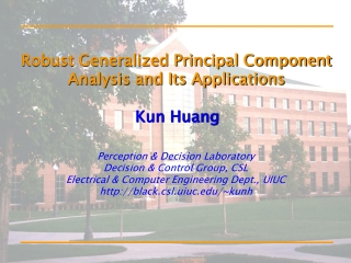 Robust Generalized Principal Component Analysis and Its Applications