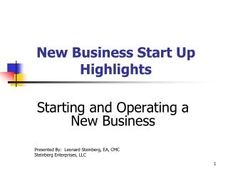 New Business Start Up Highlights
