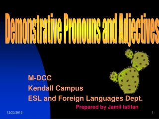 M-DCC Kendall Campus ESL and Foreign Languages Dept. 			Prepared by Jamil Istifan