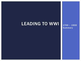 Leading to WWI