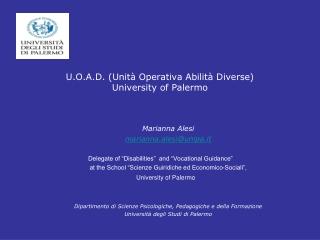 U.O.A.D. (Unità Operativa Abilità Diverse) University of Palermo