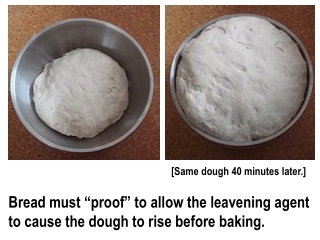"""Bread must """"proof"""" to allow the leavening agent to cause the dough to rise before baking."""