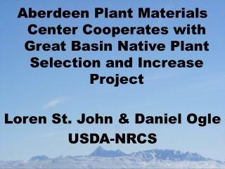 NRCS Plant Materials Mission