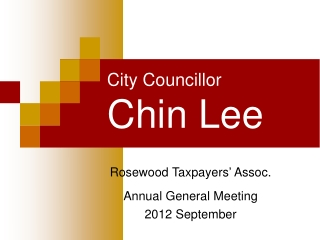 City Councillor  Chin Lee