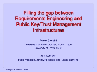 Filling the gap between Requirements Engineering and Public Key/Trust Management Infrastructures