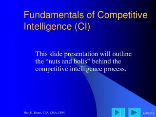 Fundamentals of Competitive Intelligence (CI)